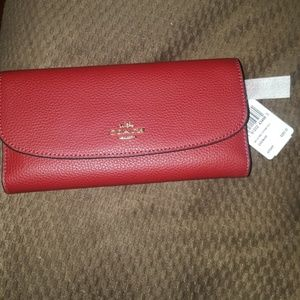 Brand new  Coach red leather checkbook wallet